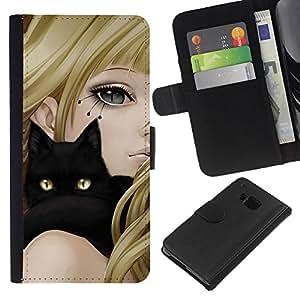 KingStore / Leather Etui en cuir / HTC One M7 / Gato Negro y Anime Girl