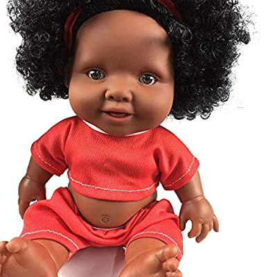 Choosebuy African Baby Doll, 10inch Movable Joint Silicone Elderly Kids Christmas Playmate Intellectual Toy