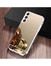 Mirror Case for Samsung Galaxy S21,Miagon Soft Flexible Gold Shiny Luxury Ultrathin Reflection Makeup Mirror Effect Bumper Back Protective Case Cover for Samsung Galaxy S21