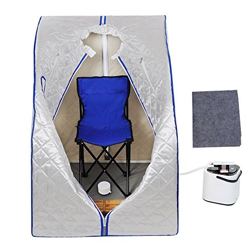 Silver 2L Portable Therapeutic Slimming Steam Sauna Tent Spa Detox Weight Loss w/Remote Control Folding Chair Foot Massager Steam Pot for Personal Health Care Relax Fitness Enthusiast