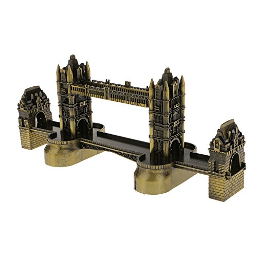 Vintage Bronze Famous Landmark Building Architecture Model Metal Collectable Souvenir Decorative Gift - London Tower Bridge
