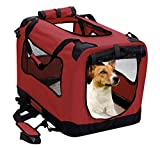 Image of 2PET Foldable Dog Crate - Soft, Easy to Fold & Carry Dog Crate for Indoor & Outdoor Use - Comfy Dog Home & Dog Travel Crate - Strong Steel Frame, Washable Fabric Cover, Frontal Zipper Medium Red
