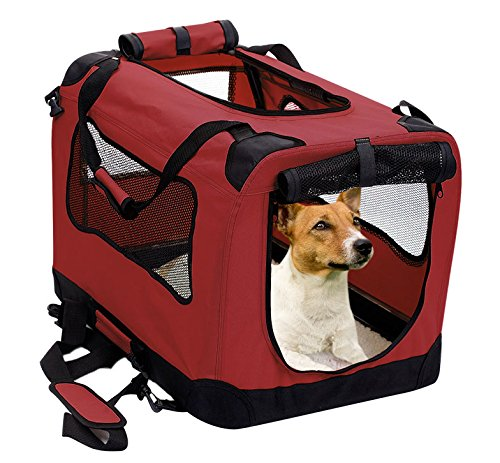 2PET Foldable Dog Crate – Soft, Easy to Fold & Carry Dog Crate for Indoor & Outdoor Use – Comfy Dog Home & Dog Travel Crate – Strong Steel Frame, Washable Fabric Cover, Frontal Zipper Medium Red