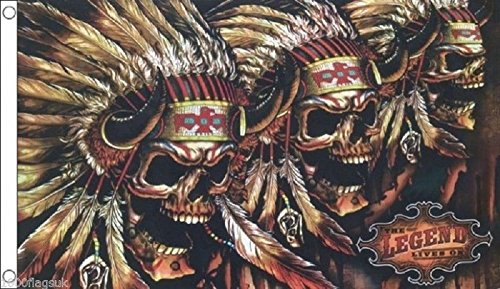 Native American Skulls In War Bonnets - The Legend Lives On Fantasy Flag 5'x3' (150cm x 90cm) - Woven Polyester