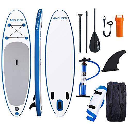 - ANCHEER Inflatable Stand Up Paddle Board 10', Non-Slip Deck(6 Inches Thick), iSUP Boards Package w/Adjustable Paddle, Leash, Hand Pump and Backpack, Youth & Adult
