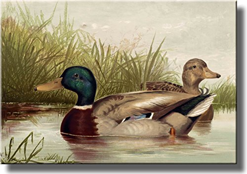 Ducks Vintage Picture Made on Stretched Canvas Wall Art Decor Ready to -