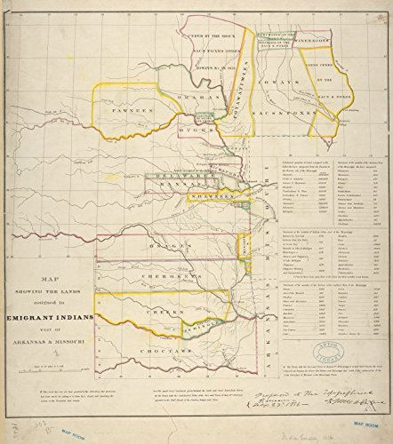 Historic 1836 Map | Map showing the lands assigned to emigrant Indians west of Arkansas & Missouri | Maps of North America. |