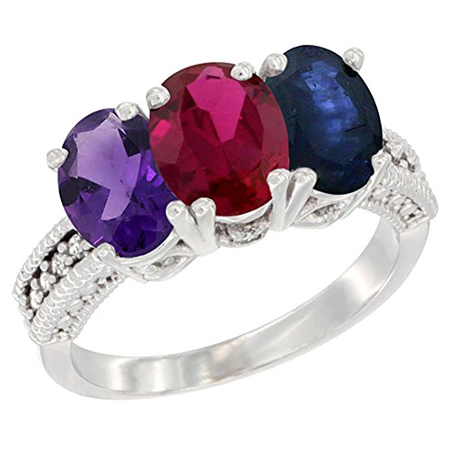 10K White Gold Natural Amethyst, Enhanced Ruby & Natural Blue Sapphire Ring 3-Stone Oval 7x5 mm Diamond Accent, size 10