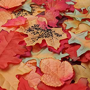 Luxbon 100pcs Artificial Autumn Fall Maple Leaves Multi Colors Great Autumn Table Scatters for Fall Weddings & Autumn Parties 2