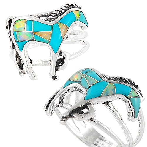 925-Sterling-Silver-Horse-Ring-with-Genuine-Turquoise-and-Lab-Created-Opal-Size-5-to-12