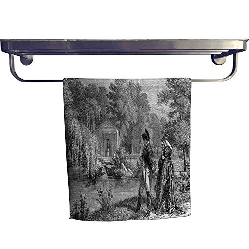 (Leigh home Beach Towel,French Revolution Sketch with Napoleon and Woman in Garden Artwork Dark Grey Black,Super Soft & Absorbent Fade Resistant Cotton Terry Towel W 12