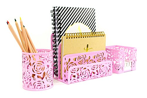 Carved Floral Pattern Office Supplies Desk Organizer– Pink – 3 Piece Metal Set – Fun, Stylish Floral Cutout Design – Stores Letters, Paperwork, Pens, Pencils, and Sticky Notes