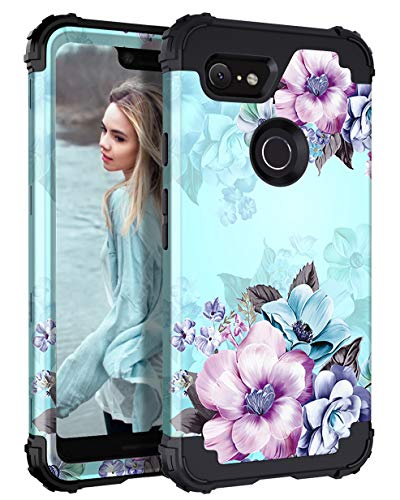 Casetego Compatible Google Pixel 3 XL Case,Floral Three Layer Heavy Duty Hybrid Sturdy Armor Shockproof Full Body Protective Cover Case for Google Pixel 3 XL,Blue