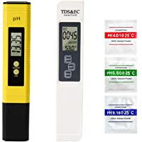 TopOne Digital TDS Meter + PH Meter with Auto Calibration Button, Water Quality Test Kit 4 in 1