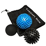 Premium Massage Balls, Set of 3 - Firm Lacrosse Ball For Back Pain, Spiky Roller Ball for Deep Tissue Trigger Point, Foot Massager, Plantar Fasciitis, Therapy and Myofascial Release - Designed in Canada