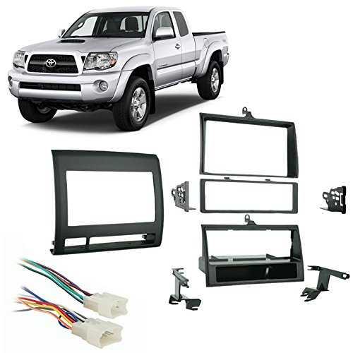 2010 Single - Fits Toyota Tacoma 2005-2011 Single DIN Car Harness Radio Dash Kit - Black
