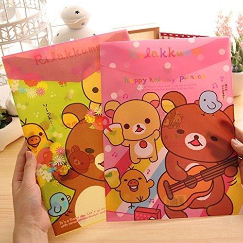 Katoot@ 4 pcs/lot Korean stationery Kawaii bear A4 paper folder Cute PVC filing bag document bag office school supplies zakka