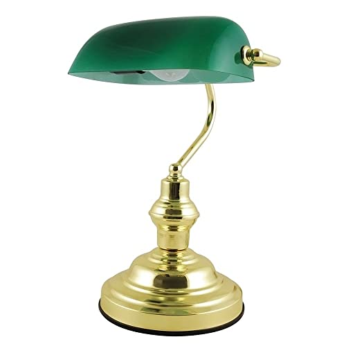 Newrays replacement green glass bankers lamp shade cover for desk lloytron advocate classic bankers lamp with glass shade and brass base aloadofball Images