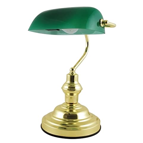Lloytron Advocate Classic Bankers Lamp with Glass Shade and Brass ...