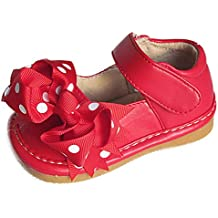 Squeaky Shoes Toddler Girls Red Leather Bow Shoes