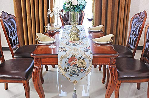 LFUJUE Polyester Washable Palace Extravagant Flowers Pattern Pendant Decoration Rectangle Table Runner Dinner Table(11