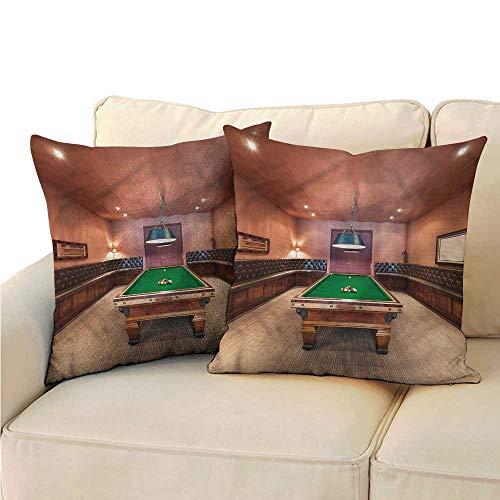 Soft Microfiber Pillowcase Set Modern Pool Table Billiard Super Soft and Luxury, Hidden Zipper Design 14