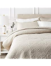 AmazonBasics Oversized Quilt Coverlet Bed Set - Full or Queen, Beige Floral