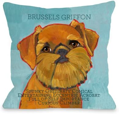 One Bella Casa Brussels Griffon 1 Pillow, 18 by 18-Inch