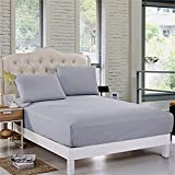 Sleep Matic waterproof 78'x 72' cotton fitted king size mattress protector Grey with streachable elastic strap on all sides (waterproof bed cover)