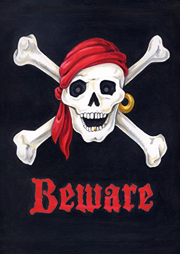 Toland Home Garden Beware 28 x 40 Inch Decorative Pirate Skull Crossbones Double Sided House Flag -