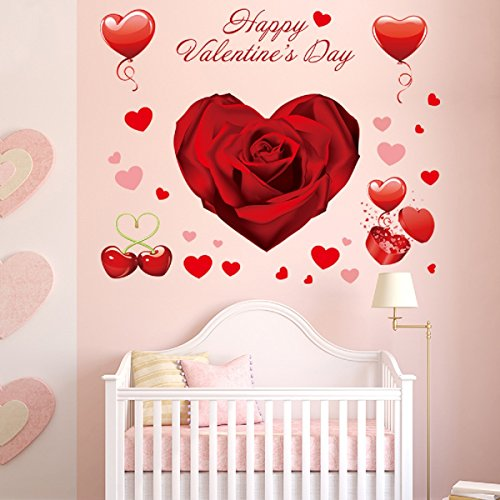 140 PCS Valentine's Day Window Clings Heart Stickers Wall Decal Party (Valentine Wall)