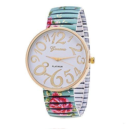 Style Gold Dial (Vavna Flower Style Big Number Dial Gold Women Steel Bracelet Dress Watch - Blue)