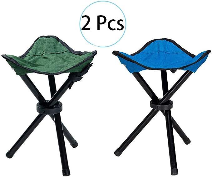HPiano Taburete Plegable de Camping 2 pcs, Trípode Plegable Taburete, Taburete Compacto al Aire Libre, 3 Patas Silla Fuerte Asiento Plegable Taburete ...