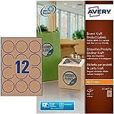 Avery L7106-20 Etichette per Prodotti in Carta Kraft, Effetto Cartone, Rotonde, Diametro 60, 20 ff, Marrone