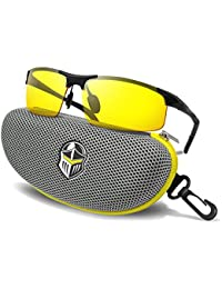 Night Driving Glasses - Anti-glare HD Vision - Yellow Tint Polycarbonate Lens - Safety Sunglasses for Men and Women Plus Car Clip Holder