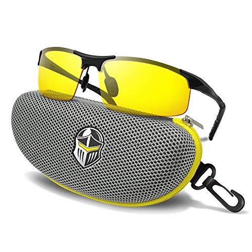 BLUPOND Night Driving Glasses - Semi Polarized Yellow Tint HD Vision Anti Glare Lens - Unbreakable Metal Frame with Car Clip Holder - Knight Visor (GrayCase)