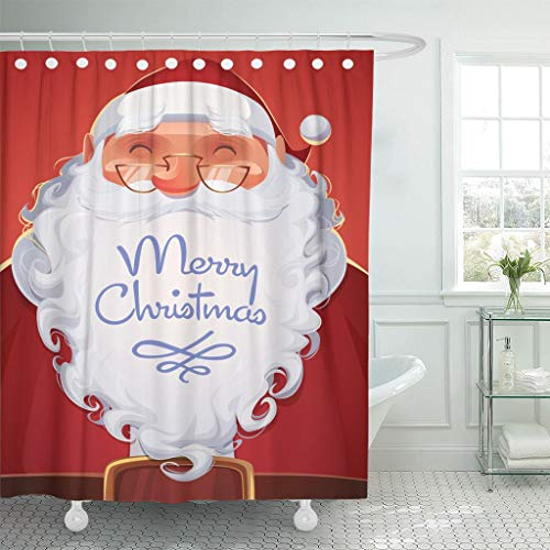(Emvency Waterproof Fabric Shower Curtain Hooks Red Retro Santa Claus Portrait Christmas Vintage Character Cartoon Extra Long 72