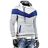 Men Best Deals - Mens Shirt,Haoricu Autumn Winter Men Retro Long Sleeve Hoodie Hooded Sweatshirt Tops Jacket Coat Outwear (L, Gray)