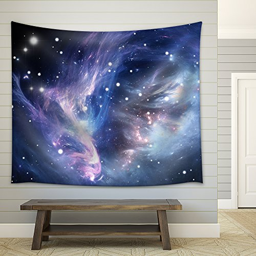 Blue Space Nebula Fabric Wall