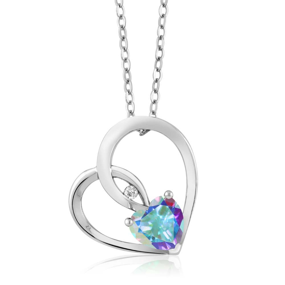 Gem Stone King 0.97 Ct Mercury Mist Mystic Topaz White Diamond 925 Sterling Silver Heart Pendant