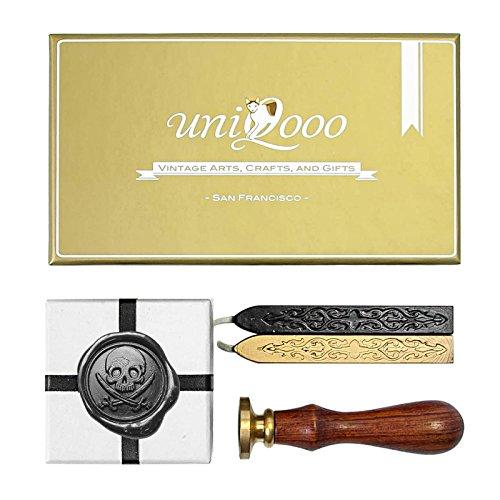 UNIQOOO Arts & Crafts Caribbean Pirate Wax Seal Stamp Kit, Gift Idea