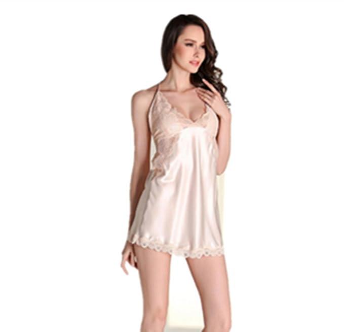 Missley Moda Pijamas Mujeres Primavera Verano Sling Pijamas Pijamas De Seda Señoras Altavoces Sling Falda Inicio