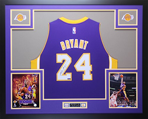 Kobe Bryant Autographed Purple Los Angeles Lakers Jersey - Beautifully Matted and Framed - Hand Signed By Kobe Bryant and Certified Authentic by Auto PSA COA - Includes Certificate of Authenticity