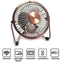 MBSSHI Mini USB Desk Fan, Laptop Cooler Cooling Personal Fan, Desktop Small Table Fan, Lower Noise, Metal Design, USB Powered, Perfect for Desktop Home Office Travel (Bronze)