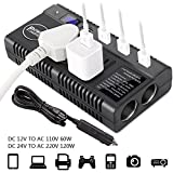 Car Power Inverter Car Outlet Adapter DC 12V 24V to AC 110V 220V Converter Car Charger Adapter with Dual Cigarette Lighter Display Screen 4 2.4A USB Charging Ports for Phones Laptops Kindle