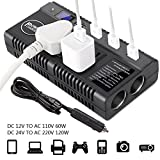 DC to AC Inverter for Car - Car Power Inverter DC 12V 24V to AC 110V 220V Converter Car Charger Adapter with Dual Cigarette Lighter Display Screen 4 2.4A Usb Charging Ports for Phones Laptops Kindle