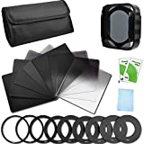 Neutral Density Filter Set Full ND2 ND4 ND8 ND16 + Graduated ND2 ND4 ND8 ND16 Filters + 9 Filter Adaptors (49/52/55/58/62/67/72/77/82MM) + Filter Holder + Lens Hood + Filter Case for Canon Nikon Sony