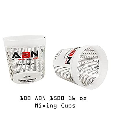 ABN Clear Plastic Mixing Cup 100-Pack 16oz Ounce / 473mL Milliliter Container with Ratios for Paint, Activators, Thinner: Automotive