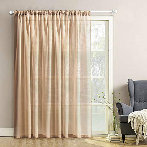 MRTREES Solid Sheer Curtains 100 x 84 inches Long Living Room Extra Wide Sliding Glass Door Sheers Curtain Panels Voile Drapes Patio Door Rod Pocket Bedroom Window Treatment 1 Piece