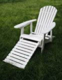 Cheap White Folding Adirondack Chair with Pull-out Footrest